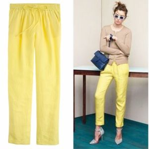 J.Crew yellow linen drawstring pants 8?